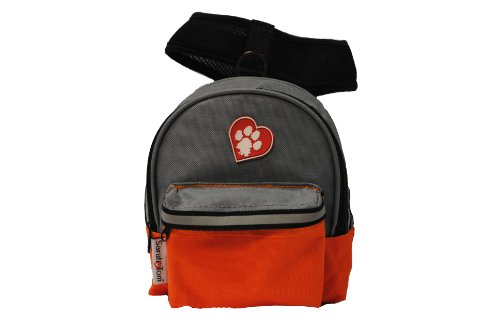 SarahTom 7Inch Pet Backpack for Dogs, Orange Grey Picture