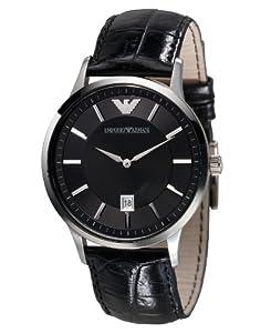 Emporio Armani Men's AR2411 Black Dial Black Leather Watch