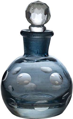 Luna Bazaar Glass Perfume Bottle (3.5-Inch, Ivana Design, Sapphire Blue)