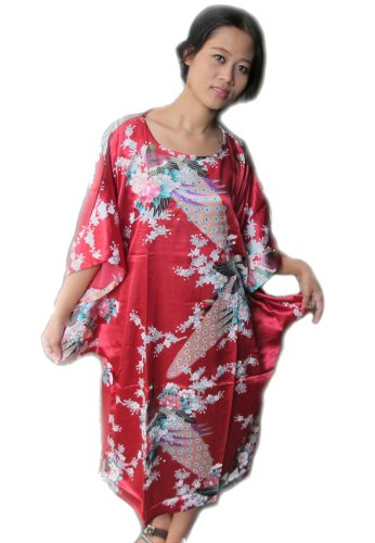 100% Thai Silk Nightgown- Asian Peacock Design- Ruby Red Color