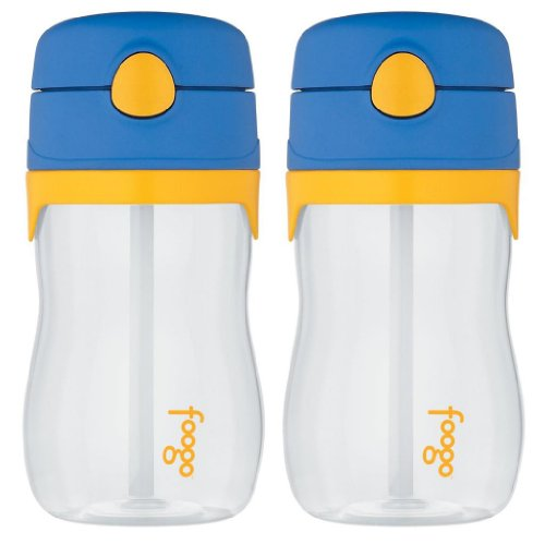 Thermos Foogo Phases Leak Proof Tritan Straw Bottle, 11 Ounce - 2 Pack (Blue/Yellow) front-1032807