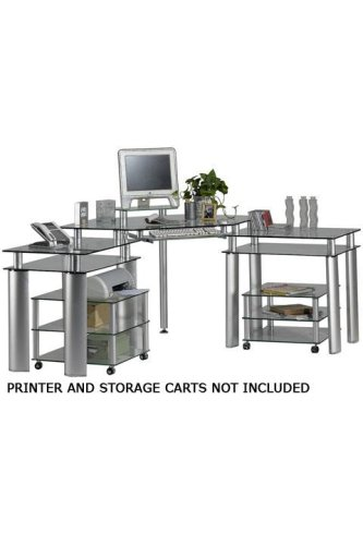 Nova Three-piece Corner Desk Set Clr Gls/silver and Black