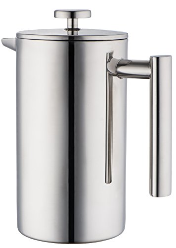 Mira Stainless Steel French Press, Coffee Plunger, Press Pot, Tea Brewer, Cafetiere, Double Walled, 34 Oz