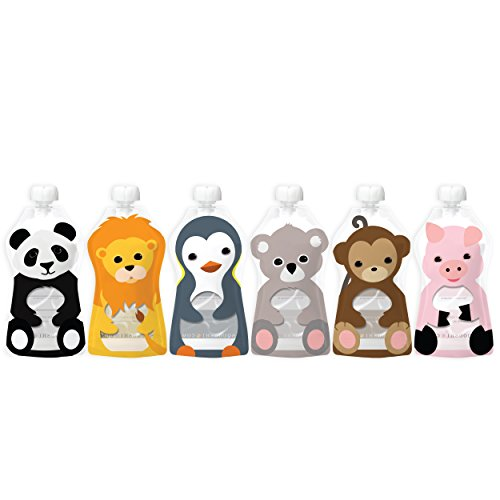 Squooshi Reusable Food Pouch | Animal 6 Pack | New Larger Size! (Reusable Food Pouches Baby compare prices)