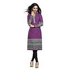 Stylish Girls Women Cotton Printed Unstitched Kurti Fabric (DT214_Grey_Free Size)