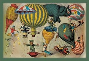 Framed Black Poster Printed On 20 X 30 Stock Balloonists As Symbols Of Nationalism