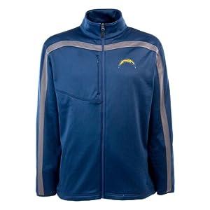 NFL Mens Full Zip Viper Fleece Jacket, Cardinal Gunmetal by Antigua