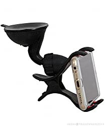 Jkobi Universal 360 Degree Rotating Dual Clip Ultra Protection Car Mount Mobile Holder Windshield Mobile Phone Stand Compatible For Reliance Jio LYF Water 5 -Black