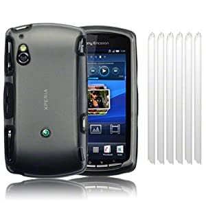 SONY ERICSSON XPERIA PLAY SMOKE BLACK FROSTED ARMOUR SHELL CASE / COVER / SHELL / SKIN, WITH 6-IN-1 SCREEN PROTECTOR PACK PART OF THE QUBITS ACCESSORIES RANGE