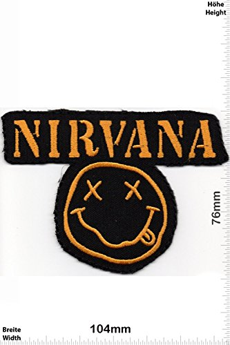 Patch - Nirvana Smile - Smiley - - Fun Patch - Adult - Chaleco - toppa - applicazione - Ricamato termo-adesivo - Give Away