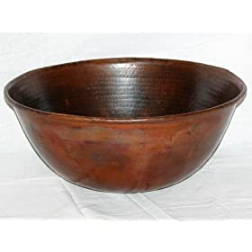 "14"" Round Mexican Copper Vessel Bathroom Sink with Rolled Edges"