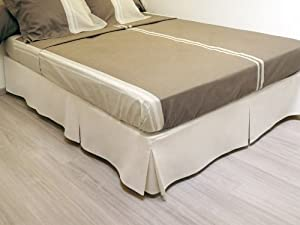 100 discount bed base cover 3 folds 160 x 200 cm beige for Divan valance wrap
