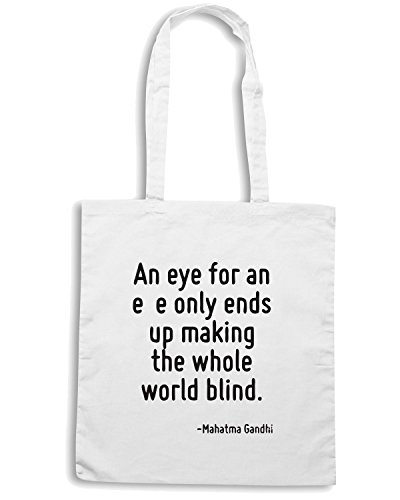 Cotton Island - Borsa Shopping CIT0029 An eye for an eye only ends up making the whole world blind., Taglia Capacita 10 litri