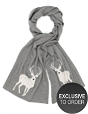 M&S Collection Pure Cashmere Stag Design Scarf MADE WITH SWAROVSKI® ELEMENTS