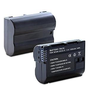 Fosmon Replacement EN-EL15 Li-Ion Battery Pack for Nikon D7000/D7100/D600/D800/D800E/1 V1 DSLR Cameras (discontinued by manufacturer)