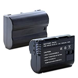 Fosmon Replacement EN-EL15 Li-Ion Battery Pack for Nikon D7000/D7100/D600/D800/D800E/1 V1 DSLR Cameras