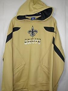New Orleans Saints Reebok Gold Sideline Momentum Hooded Sweatshirt by Reebok