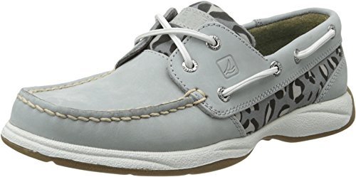 Sperry Top-Sider Womens Intrepid Grey/Charcoal Leopard Boat Shoe 8.5 M (B)