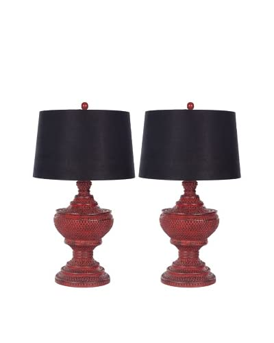 Safavieh Set of 2 Chinese Red Urn Lamps