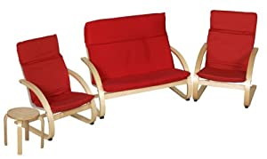 ECR4Kids Comfort Chairs and Table Set, 4 Pieces, Red