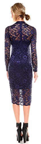 Stanzino Cocktail Dress  Womens Long Sleeve Lace Dresses for Special Occasions,Navy,Large