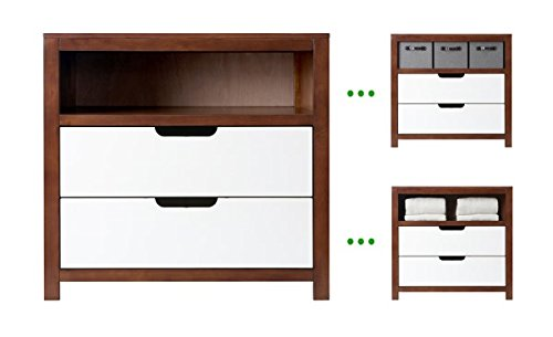 Karla DuBois Baby 2 Drawer Adjustable Cubby Extra Deep Dresser, Pure White and Coco