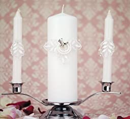 Western Cowboy Lasso Unity Candle Set: Candle Color: White - Boot Color: Gold