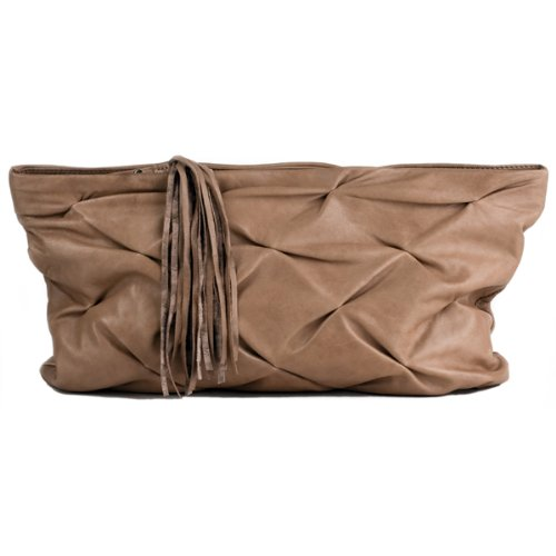 FEYNSINN clutch bag LILLY - real leather evening handbag - handmade purse camel-beige