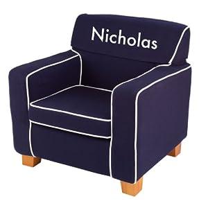 KidKraft Personalized Laguna Chair Navy with White Block - Nicholas from KidKraft