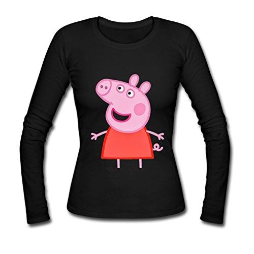 Hertanercase Anime Peppa Pig Custom Gildan Women's Long sleeve T-shirt Black XL (Top Anime For Adults)
