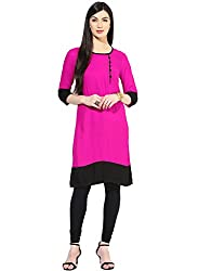 Varibha Girl's Branded Stitched Solid Pink & Black Cotton Silk Low Price Kurti (Best Gift For Your Friend, Girlfriend, Wife, Sister, Casual, Free Size alterable till 42)