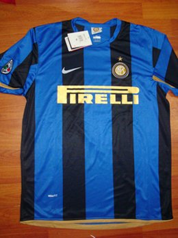 08-09 INTER MILAN HOME JERSEY + FREE SHORT (SIZE XL)
