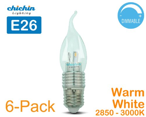 Chichinlighting®6-Pack Dimmable E26 5W Led E26 Base Candle Bulb Light Bulbs 40W 3000K Warm White Lamps Bent Tip
