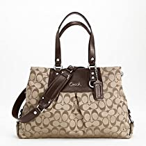 Hot Sale Coach Ashley Signature Sateen Carryall Shoulder Handbag, Style 15510 Khaki Mahogany