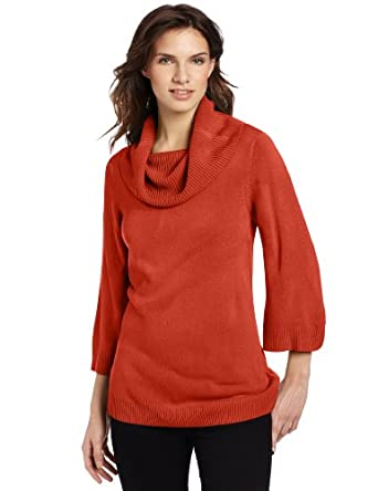 Sag Harbor Women's Cowl Neck Kimono Sleeve Cashmerlon Sweater, Orange, X-Large