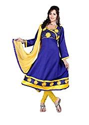 Blissta Blue Semi Cotton Embroidered Anarkali Dress Material