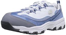 Skechers for Work Women\'s D\'Lites SR Work Shoe,Light Blue/White,11 M US