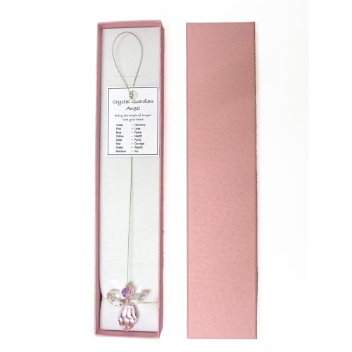 Crystal Guardian Angel suncatcher, Gift-Boxed - Pink (Love)