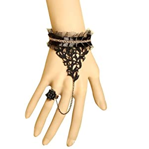 Wisedeal Retro Vintage Gothic Style Lace Chain Wristband Bracelet Ring for Vampire Accessories&Wedding Decorations&Halloween Decoratioins Present For Fancy Ball with a Wisedeal Keychain Gift (Black)