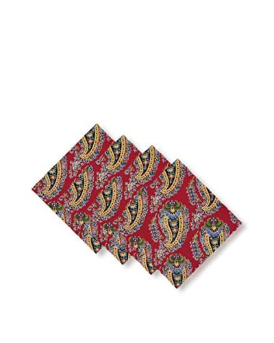 KAF Home Set of 4 Fête Paisley Napkins, Red