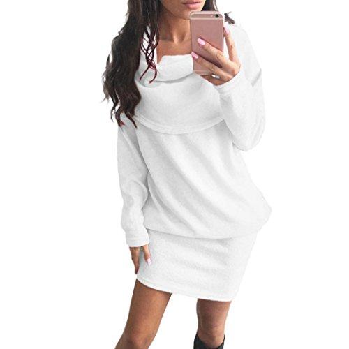 Fheaven Women Autumn Long Sleeve Bodycon Lapel Sweater Dress (XL, White)