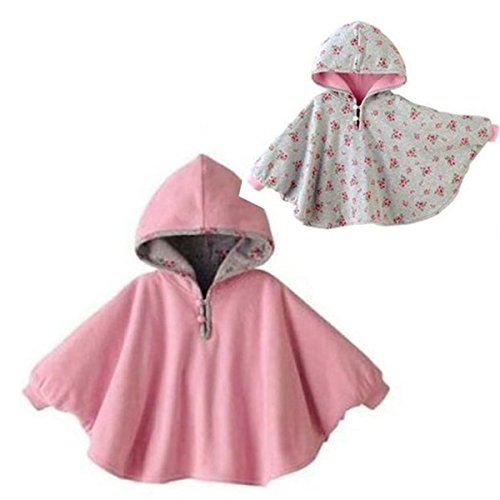 tailloday-baby-kids-toddler-double-side-wear-hooded-cape-cloak-poncho-hoodie-coat-1-3-years-pink
