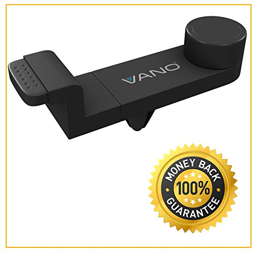 Vano® Car Air Vent Phone Mount - Fits any Air Vent + Smartphone - Strong Grip - Holder Fits Your Pocket and Handbag - 360 Degree Rotation for Portrait + Landscape Views - Does Not Obstruct Your Windsh