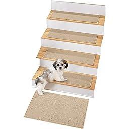 Skid-resistant Berber Stair Treads - Set of 4, Sand