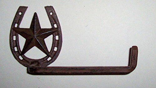 """""""ABC Products"""" - Heavy Cast Iron - Country Design - Towel Bar Holder With a Square Extended Arm For Holding Towels Better - Accented With a Horse Shoe and Star Wall Hanger - With That Aged Old Work Design - (Dark Bronze Finish - Wall Hanging)"""