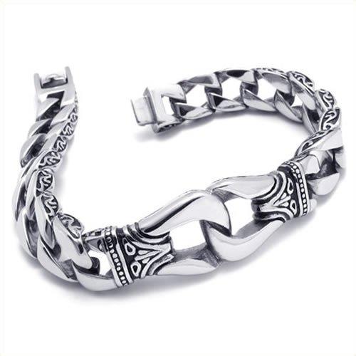 KONOV Jewelry Stainless Steel Men's Bracelet, Silver Black, 8 3/4 Inch