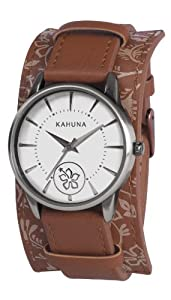 Kahuna Women's Quartz Watch with White Dial Analogue Display and Brown PU Cuff AKLS-0285L