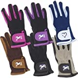 Ovation Kids Hearts & Horses Riding Gloves - Size:B [12-14] Color:Pink/Black