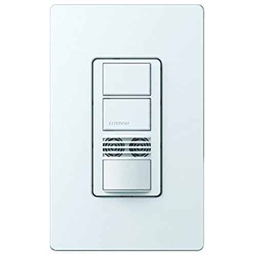 6A Max. - 180 Deg. Pir/Ultrasonic Double Dual Switch Occupancy Sensor - Sp/Multi-Location - Incandescent Halogen Fl Cfl Led Elv Mlv Fan Loads - 900 Sq. Ft. Coverage - Neutral Required - White- 120-277 Volt - Lutron Maestro Ms-B202-Wh