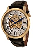 ROTARY Watches:Men's Swiss Made Skeleton Automatic Silver and See Thru Skeleton Dial Black Leather